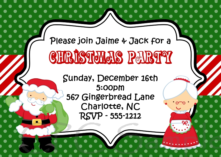 Santa And Mrs Claus Kids Christmas Holiday Party Invitation By Cutie