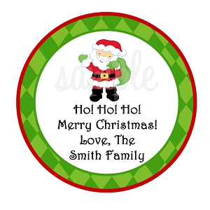 Personalized Santa Claus Christmas Stickers, Holiday Gift Tags
