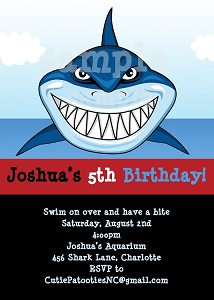 Shark Under the Sea Birthday Party Invitations - Printable or Printed