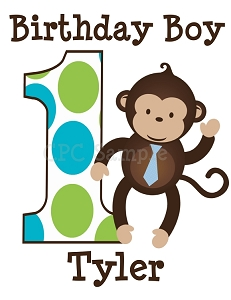 Personalized Mod Monkey Birthday T-Shirt or Bodysuit