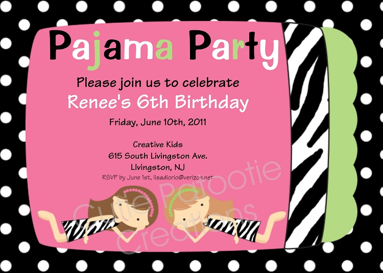 Zebra Print Pajama Party Birthday Invitation