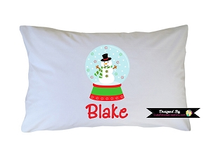 Personalized Snowman Snowglobe Pillow Case for Kids, Adults and Toddler