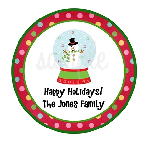 Snowman Snow Globe Christmas Present Sticker Holiday Gift Tags