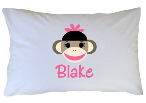Personalized Sock Monkey Pillow Case for Kids, Adults and Toddler
