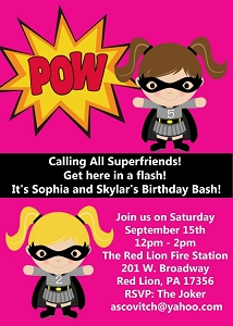 Twins or Siblings Superhero Batgirl Birthday Invitations - Printable or Printed
