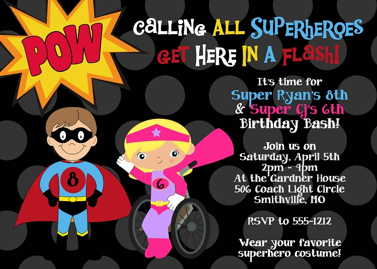 Special Needs Wheelchair Superhero Birthday Party Invitations