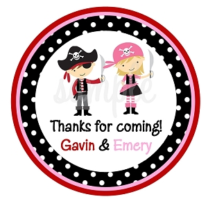 Girl Boy Pirate Party Stickers, Twins or Siblings