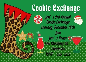 Leopard Christmas Stocking Cookie Exchange Holiday Party Invitation - Printable or Printed