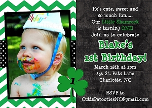 St Patrick's Day Party Invitation for Boys - Printable or Printed