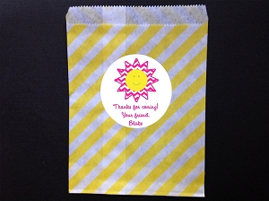 Sunshine Party Favor Bags and Personalized Stickers
