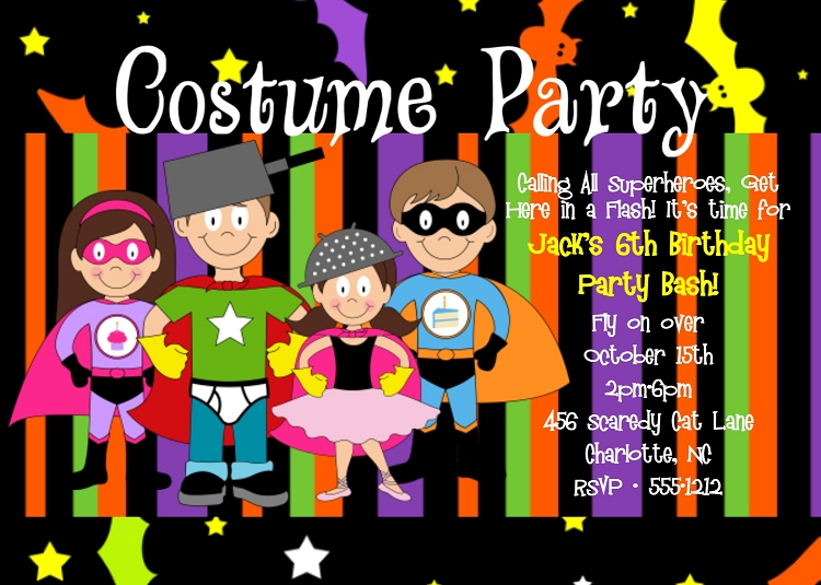 Superhero Costume Party Halloween Birthday Invitations