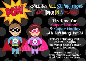 Boy Girl Superhero Birthday Invitations - Printable or Printed