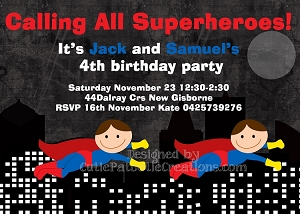 Twins or Siblings Superhero Birthday Invitations - Printable or Printed