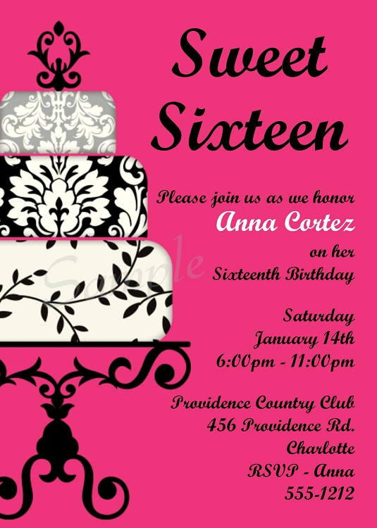 Hot Pink Black Sweet 16 Birthday Invitations