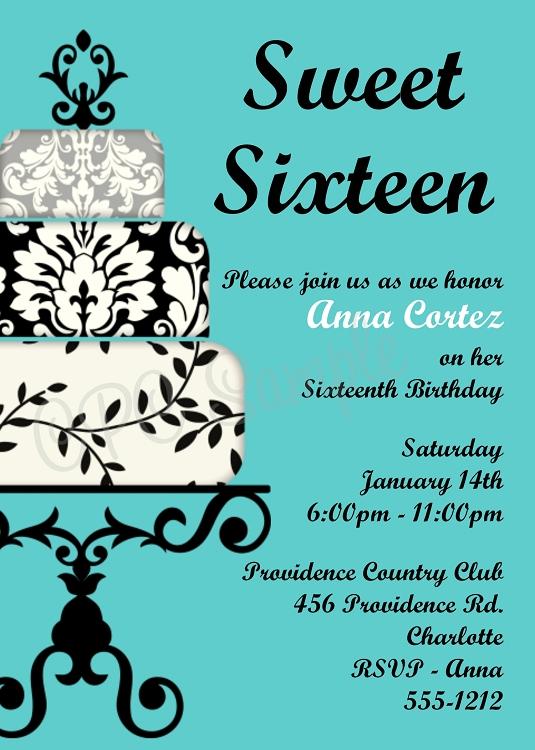 Tiffany Blue Sweet 16 Sixteen Birthday Invitations