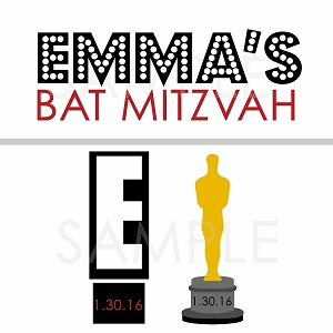 Hollywood Themed Bat Mitzvah Logo - Emmy Award - ALL 3 LOGOS INCLUDED