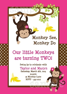 Twin Monkey Safari Birthday Party Invitations | Animal Invitations - Printable or Printed