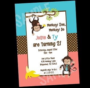 Teal and Coral Monkey Birthday Invitation for Twins or Siblings