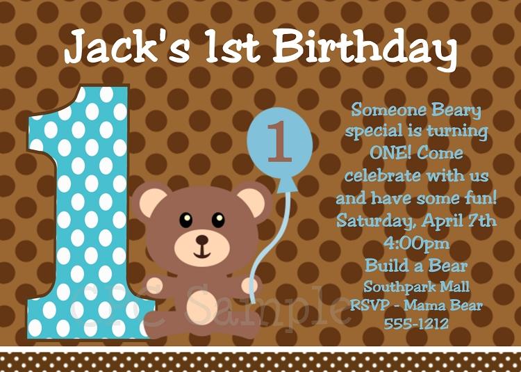 Teddy Bear Birthday Invitations For Boys
