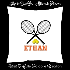 Tennis Bar Mitzvah Sign in Board or Sign in Pillow - Custom Colors Available