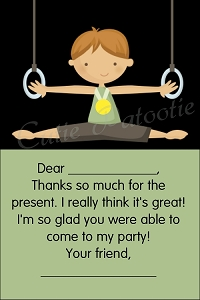 Boy Gymnastics Thank You Cards