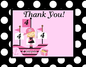 Girl Pirate Thank You Cards