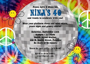 Disco Tie Dye Birthday Party Invitation for 70's 80's 90's Birthday - Great for 40th 50th and 60th to!