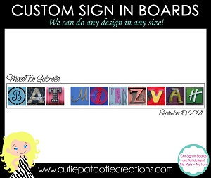 Bat Mitzvah Sign in Board Personalized with Name and Date