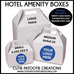 Hotel Gable Box Gift Sets - Includes Box, Sticker and Weekend Event Card