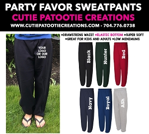 Sweatpant Mitzvah Party Favors - READ DESCRIPTION FOR INFO - CALL FOR PRICING