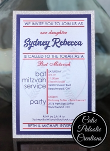 Navy Blue and Silver Glitter Girls Baseball Bat Mitzvah Invitation - Custom TEAM Colors Available