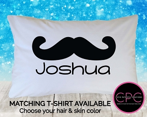 Personalized Black Mustache Pillowcase