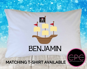 Personalized Pirate Ship Pillowcase