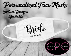 Personalized Bride and Groom Masks for Weddings, Bridal Party also Available