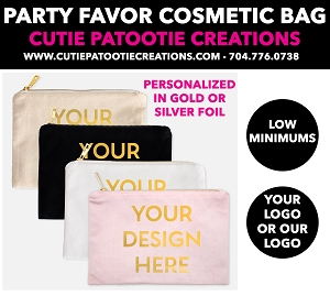 Cosmetic Bag Party Favors with Gold or Silver Foil - See Description for More Info