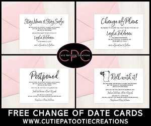 FREE - Digital PDF Change of Date Cards - Postponement Cards - PLEASE READ DESCRIPTION BELOW