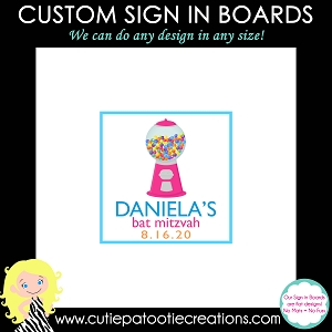 Gumball Machine Candy Theme Bat Mitzvah Sign in Board