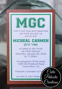 Football Textured Layered Bar Mitzvah Invitations | Custom TEAM Colors Available