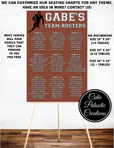 Football Sports Team Roster Table Seating Chart for Bar and Bat Mitzvah
