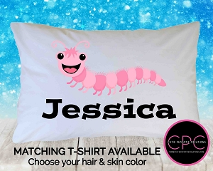 Personalized Pink Caterpillar Pillowcase