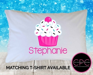 Personalized Hot Pink Cupcake Pillowcase