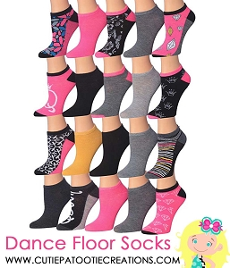 Dance Floor Party Socks for Bar and Bat Mitzvahs - Pink, Black and Grey