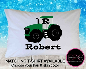 Personalized Green Tractor Pillowcase