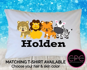 Personalized Jungle Zoo Animals Pillowcase