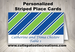 Custom Personalized Striped Place Cards | Custom Colors Available
