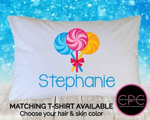 Personalized Swirl Lollipop Pillowcase