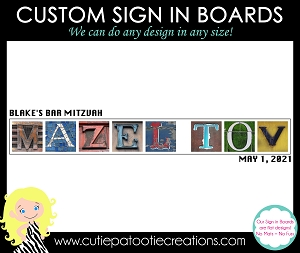 Mazel Tov Bar Mitzvah Sign in Board | Custom Colors for Name and Date