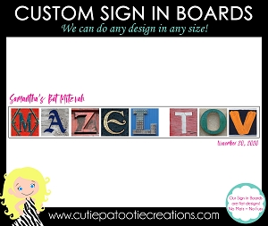 Mazel Tov Bat Mitzvah Sign in Board | Custom Colors for Name and Date