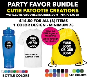 Party Favor Bundles - T-Shirt, Water Bottle and Drawstring Bag in White and Black - Pick your Color - MINIMUM 75