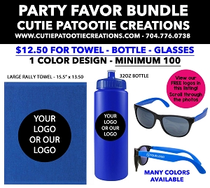 Party Favor Bundles - Large Rally Towel, Water Bottle and Sunglasses - MINIMUM 100